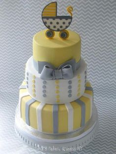 christening cake yellow grey - Google Search