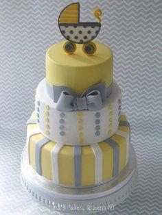 christening cake yellow grey - Google Search