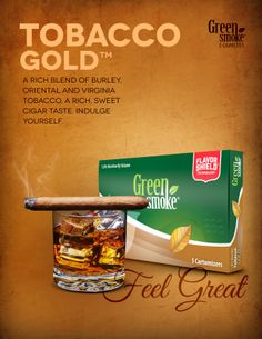 Tobacco Gold: A rich blend of Virginia, Oriental and Burley tobacco. A rich, sweet taste that used to only be found in the finest cigars – now available in the electronic cigarette. Burley Tobacco, Tobacco Smoking, Paper Cover, Electronic Cigarette, Cigars, Smoke, Gold, Vaping Mods, Smoking