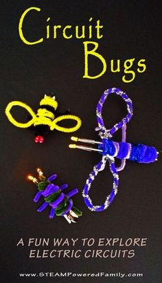 Original Circuit Bugs - Circuit building and tinkering Circuit Bugs – A super cute craft with circuit work.Circuit Bugs – A super cute craft with circuit work. 4th Grade Science, Stem Science, Science Fair, Science Lessons, Teaching Science, Science For Kids, Science Experiments, Earth Science Activities, Technology Lessons
