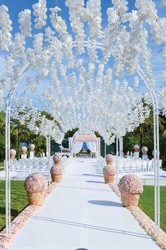 Gorgeous | wedding ceremony ideas | orchids | white aisle runner | wedding ceremony | stunning