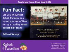 #FunFact: DidYouKnow that #KababParadise is a #ProudSponsor of #NewJerseys Leading #YouthBaskedBall Team: #Ballin4Sadaqa