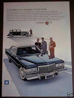 クラシックブルーキャデラック車の自動車(1975)