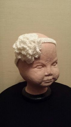 Crocheted baby rose flower headband