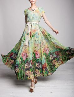 Spring Summer Chiffon Long Dress Lady Women Clothing Gown Expansion Skirt - FGK145 on Etsy, $104.00