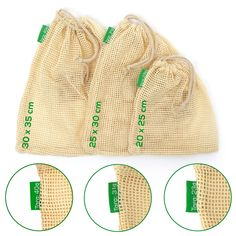 TreeBox Premium Obst- und Gemüsebeutel im 3er Set Burlap, Blog, Reusable Tote Bags, Fruit, Sachets, Products, Hessian Fabric, Blogging, Jute