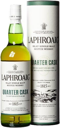 """Laphroaig Quarter Cask Whiskey Bought this after Ardbeg 10. Complex flavour, but I will have to sit down with this one to truly appreciate it. Peat smoke, TCP medicinal and sweet. Coastal flavours of salt and sea, in front of a roaring fire. """"Like a hospital on fire!"""""""