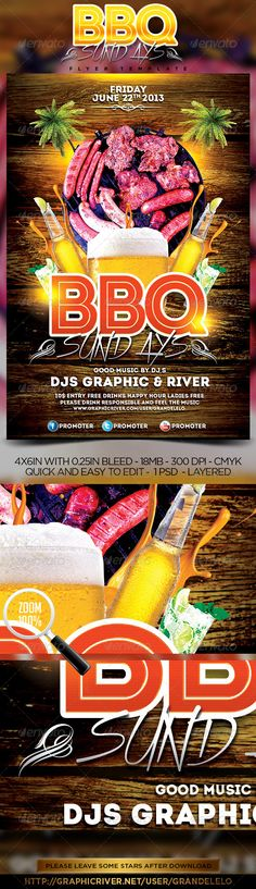 BBQ Party Flyer  #GraphicRiver         BBQ Sundays Party Flyer, this ad poster will overload your party, give it a try. You can modify everything very easy and quick. Changing the color style, pictures, typo is no problem. It is well-assorted in folders and layers. Fonts: Intro: fontfabric /intro-free-font/ Xtreem:	                                                                                                                           Created: 4July13 GraphicsFilesIncluded: PhotoshopPSD