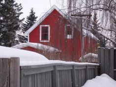 red house in winter