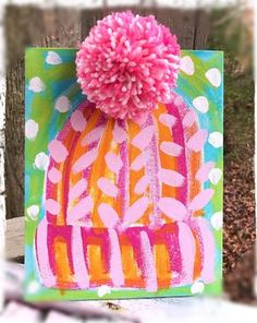 Winter Whimsy Cute Abstract Knit Hat Personalized Painting with PomPom- - kni. Winter Whimsy Cute Abstract Knit Hat Personalized Painting with PomPom- – knithat. Kids Crafts, Winter Crafts For Kids, Art For Kids, Diy And Crafts, Arts And Crafts, Winter Ideas, Kids Fun, Winter Art Projects, Winter Project