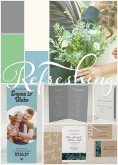 Muted Green, Blue & Gray Wedding colors