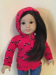 Up-Cycled Dog Hoodie for American Girl Dolls or any 18 inch doll by ItIsSewYou on Etsy