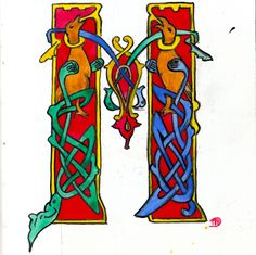 Initiaal M getekend en ingekleurd