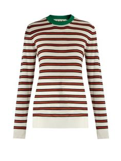 Striped contrast-collar cashmere-blend sweater | Marni | MATCHESFASHION.COM UK