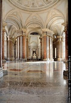 Interior of Caserta Royal Palace, Campania, Italy.