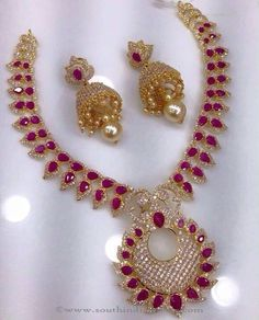 Gold Plated Necklace Designs, Gold Plated Ruby Necklace Designs.