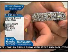 Estate platinum and diamond bracelet with approximately 14 carats of diamonds. Available at Gem Shopping Network.