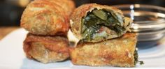 Collard Green Eggroll - I make my own collards and add shredded spicy chicken to the filling!