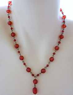 """Vintage Red Beaded Lariat Necklace Gold Tone Adjustable 20.5"""" #Lariat"""
