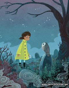 Goodbye, October!This illo was done as part of a little illustration challenge I have going with Elle Skinner, Clover Firelfy, and CJ Joughin–we jot down a prompt each and incorporate as many as we can into a new ilustration each month! Our ~Monthly Drawterry~ October was - mint - owl- raincoat - tombstone - (guess which one I suggested >>)