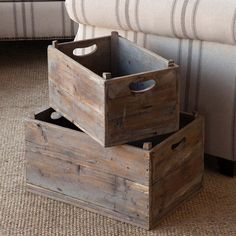 Farmhouse closets are rare and so storage and organization came in the form of wire baskets and wooden boxes. Visit Antique Farmhouse to see our farmhouse storage ideas. Vintage Wood Crates, Wooden Crates, Wooden Boxes, Wine Crates, Farmhouse Style Decorating, Farmhouse Decor, Country Decor, Western Decor, Rustic Decor