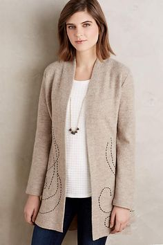 Embroidered Boiled Wool Sweater Coat - by Rosie neira anthropologie.com