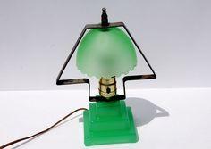 RARE VINTAGE GREEN DEPRESSION GLASS JADITE LAMP CANDLESTICK STYLE BASE & SHADE Jadite/Jadeite ...