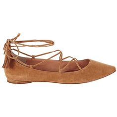 Sigerson Morrison Women's Suede Lace-Up Ballet Flat (30170 DZD) ❤ liked on Polyvore featuring shoes, flats, lace up ballet flats, pointed toe ballet flats, flat pumps, suede flats and ballet flat shoes
