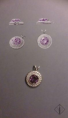 Pendentif en or blanc, diamants et améthyste. Bijoux réalisé en Maillechort…