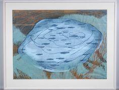 Outi Kirves: Kalalammikko, 1998, puupiirros, 71x97 cm, edition 6/20 - Huutokauppa Helander 09/2015 Finland, Painting, Art, Art Background, Painting Art, Kunst, Paintings, Performing Arts, Painted Canvas