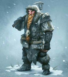 Dwarf Artic Ranger - Pathfinder PFRPG DND D&D d20 fantasy