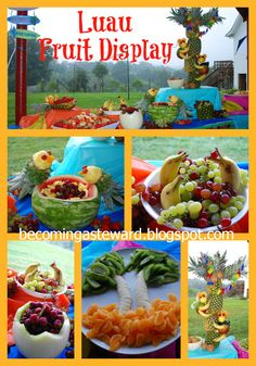 Great ideas for planning a fruit display for a birthday party a wedding or baby shower, a pool party, an outdoor wedding.  Pineapple tree, mango monkeys, banana dolphins, pineapple parrots and more!
