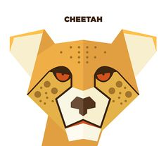 Illustration of Cheetah using shapes, Artist unknown.