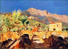 """Llewelyn Lloyd (Livorno 1879 – Firenze 1949), """"Il Monte Capanne da San Giovanni (Isola d'Elba), 1930. (40x54)"""