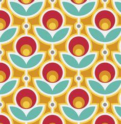 Primrose in Poppy for Free Spirit   1/2 Yard  Cotton by Owlanddrum, $5.25