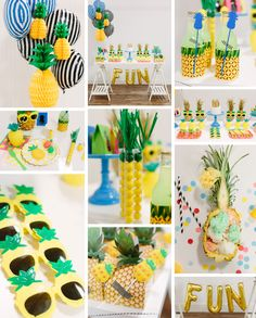 Jump into summer all year round with this perfectly sunny pineapple themed party by Kara of Kara& Party Ideas. Pop on your pineapple shades and take a sip of y Aloha Party, Party Fiesta, Luau Party, Flamingo Party, Flamingo Birthday, Fete Laurent, Fruit Party, 1st Birthday Parties, Summer Birthday