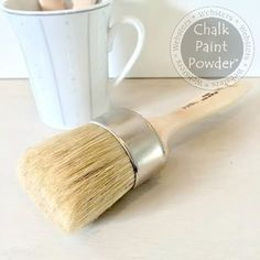 "Chalk-Pro Paint & Wax Brush- Large: A Paint&Wax Brush has a ""chiseled"" bristle head, allowing more bristle contact when held at an angle, usually when painting. They can also be used for spreading wax, especially in inside corners and on carvings. 8 1/4 long; 2 1/4"" across oval ferrule; 2"" long bristles. $24.99"