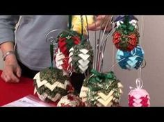 Baubles for the Christmas tree by The Stitch Witch (Taster Video) Folded Fabric Ornaments, Quilted Christmas Ornaments, Christmas Ribbon, Noel Christmas, Christmas Baubles, Pinecone Ornaments, Christmas Decorations, Diy Ornaments, Homemade Christmas Gifts