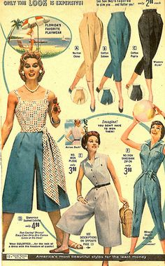 """American's used to imagine what """"Florida Wear"""" was like . and so they'd come down here dressed to the hilt and try to fit in. Took awhile to fix this behavior! 1950s Fashion Women, 1950s Fashion Dresses, 60s And 70s Fashion, Retro Fashion, Vintage Fashion, Vintage Dress Patterns, Vintage Dresses, Vintage Outfits, Vintage Clothing"""