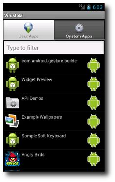 VirusTotal is an Android application that simplifies the process os scanning Android applications (APK's) with your Android mobile device. It allows to perform hash lookups for all applications on your device as well as upload any file that may be unknown to VirusTotal. Please note that VirusTotal for Android does not provide real-time protection and, so, is no substitute for any antivirus product, just a second opinion regarding your apps. (can it install to SD, we'll see)