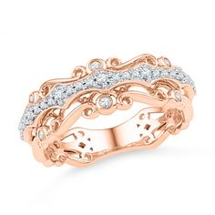 Would make an interesting wedding band or standalone middle finger ring. Really like how different it is.   1/4 CT. T.W. Diamond Vintage-Inspired Scroll Band in 10K Rose Gold