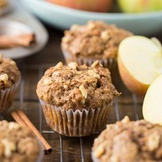 Healthy Apple Muffins using whole wheat flour, coconut oil and apple applesauce. The kids and you will love this snack all fall long! Muffin Recipes, Apple Recipes, Baby Food Recipes, Gourmet Recipes, Breakfast Recipes, Breakfast Healthy, Breakfast Muffins, Health Breakfast, Fast Food