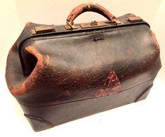 Antique Doctor Bag Worcester Academy MA c1870 Black Leather Walrus? Old Medicine    eBay
