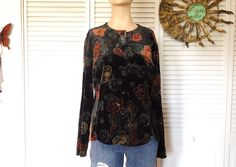 Black Velvet Blouse Boho Flower Shirt Silver Accent Button Down Long Sleeve Paisley Faux Velvet Size Large Bohemian Top Indie Fashion Vintag by LandofBridget on Etsy