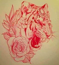 Эскиз тату с тигром, розой и украшениями