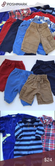 Bundle of 9 Boy's 6 Months Tea Collection, Carters Lot of 9 boy's clothes! Very good, gently used condition overall, may show signs of wear. Tea Collection 6-12 mos pants/shorts. Carter's plaid shirt, long sleeve striped romper, dragon footie pjs, and 3 pairs of pants. Red 6-12 m. old navy shirt. Plaid Chaps romper. Tea Collection, Carters, Old Navy, Chaps Other
