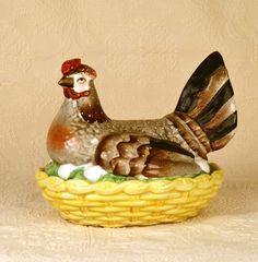 Nineteenth Century Staffordshire Nesting Hen on Basket