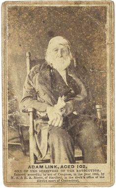 Adam Link, one of the last survivors of the American Revolutionary War, age 102 in 1864.