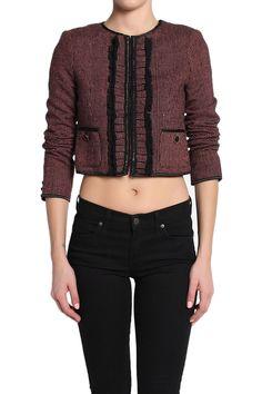 TheMogan Contrast Ruffle Checked Collarless Tweed Jacket