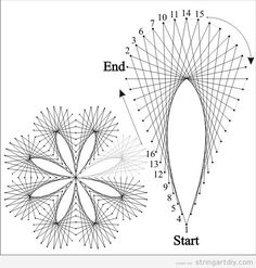 String Art Flower and drop, free pattern to download